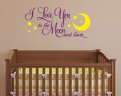To the Moon and Back vinyl wall decal, nursery art sticker, moon and stars decor, two color decal