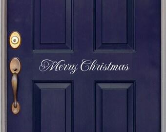 Merry Christmas decal - Front Door Decal - Christmas door decal - Wall Art - Vinyl Decal - Holiday Decal