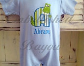 Appliqued Boy's Romper with Custom Initial and Alligator