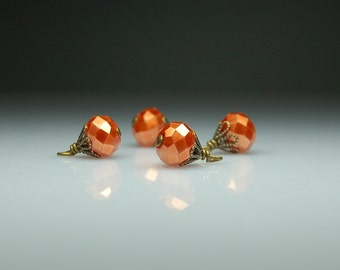 Vintage Style Bead Charms Dangles Orange Copper Color Glass Set of Five O5475