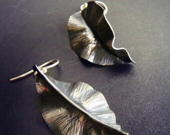 Fold Formed Leaf Earrings in Copper, Bronze, or Sterling Silver