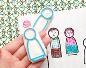 kokeshi stamp set. boy and girl wood doll hand carved rubber stamps. wedding doll stationery. wedding scrapbooking. gift wrapping. set of 2