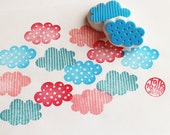 cloud hand carved rubber stamps. sky stamp. polka dot, stripes. april showers birthday baby shower scrapbooking. gift wrapping. set of 2