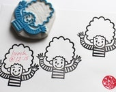 little boy or girl hand carved rubber stamp. birthday boy or girl stamp. children stamp. write message. scrapbooking. holiday crafts