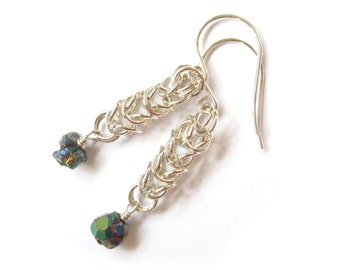 "Chalcopyrite ""Peacock Ore"" Sterling Silver Chainmaille Earrings"