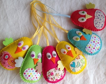 Hanging Decorations - Felt Chick - Easter - Spring - Wool Felt