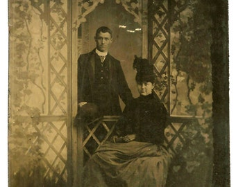 Attractive Couple in Faux Garden Gazebo - Painted Backdrop - Antique Tintype