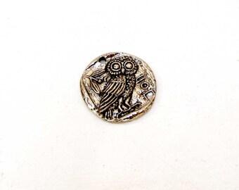 Round Owl  Charm Pendant Green Girl Studio pewter charm necklace bracelet jewelry charm