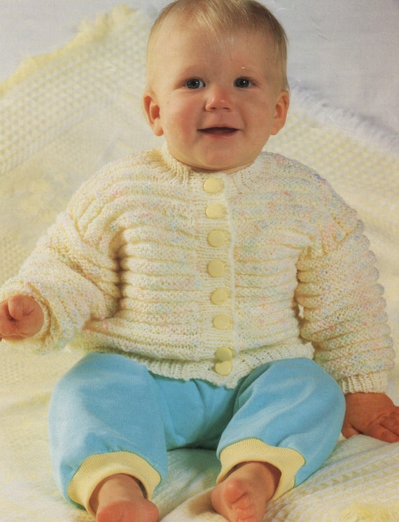 Knitting Pattern Baby Cardigan 8 Ply : Items similar to Vintage Baby Knitting Pattern Cardigan and Jumper/ Two patte...