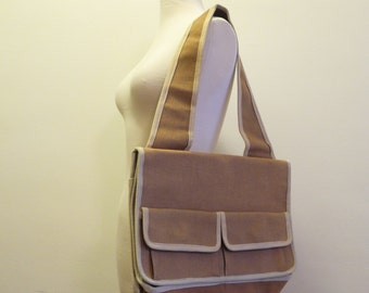 Twill 70s UNISEX brown tote bag