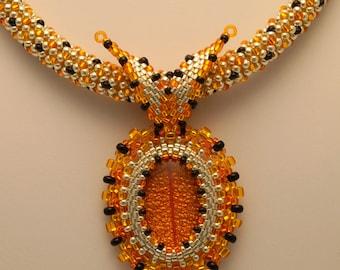 Beaded Tangerine Halloween Necklace Orange, Black and Silver