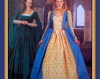 ELIZABETHAN PRINCESS GOWN-Costume Sewing Pattern-Fitted & Lined Bodice-Lady In Waiting Gown-Stunning Crown Headpiece-Uncut-Size 10-14-Rare