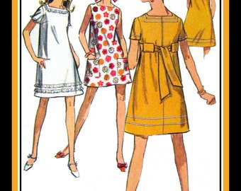 Vintage 1968-KABUKI GIRL MOD-Sewing Pattern-Mini Dress-Three Styles-Decorative Trims-Patch Pockets-Tie Back Bow-Size 5 Petite-Rare