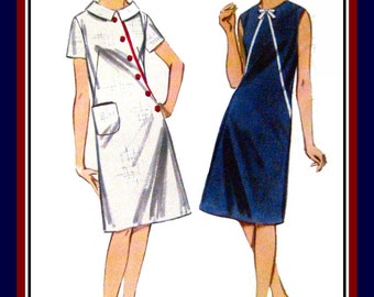 Vintage 1960s-SWEET CHIC MOD-A-Line Dress-Sewing Pattern-Two Styles-Asymmetrical Seaming-Button-Bows-Side Patch Pocket-Uncut-Size 12-Rare