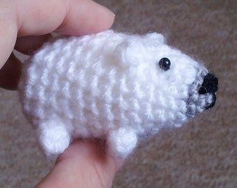 Bitty Polar Bear - miniature bear amigurumi polar bear crochet bear polar bear ornament polar bear tree decoration
