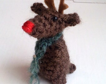 Bitty Reindeer pattern - Rudolph ornament Christmas ornaments deer ornament moose ornament amigurumi decorations crochet decorations