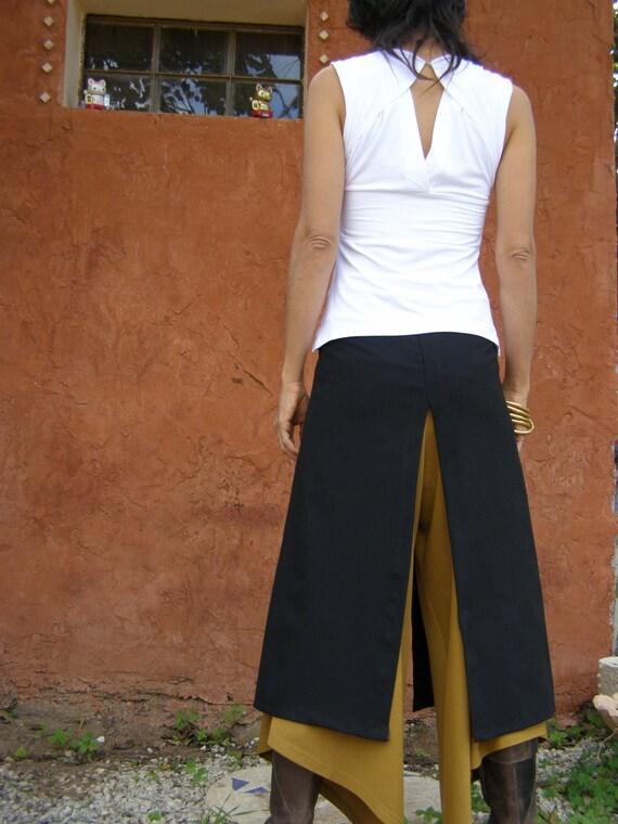Convertible skirt-Chic split skirt- Black  skirt-Layer skirt-long skirt-Chaps-Boho chic-Slits skirt-Layered clothes