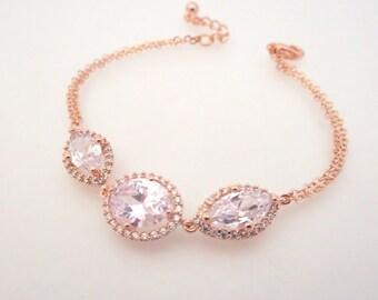 Crystal Bridal bracelet, Rose gold bracelet, Wedding jewelry, Wedding bracelet, Bangle bracelet, Bridesmaid bracelet, Simple bracelet