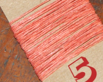 NEW! 5 yards SALMON waxed Irish linen thread