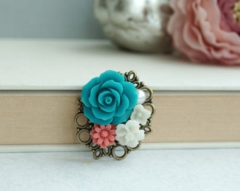 Flower Brooch Pin. Wedding Brooch, Teal Blue Green, Carol, Ivory, Pearl Flower Brooch. Bridesmaids Gift. Hand Bouquet. Cummerband Brooch