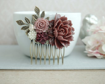 Garnet Red Flower Comb Marsala Ivory Hair Comb Wedding Comb Brown Maroon Dark Red Gold Leaf Branch Flower Bridal Hair Comb Bridesmaid Gift
