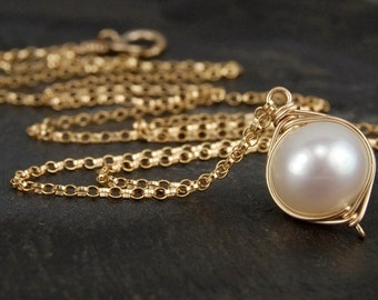 Pearl necklace, single pearl necklace, handmade gold wire wrapped jewelry, June birthstone, white pearl necklace - Cygnet