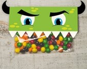 INSTANT DOWNLOAD DIY Birthday Monster Face Treat Topper Candy Bag Topper Label homemade candy party favor boy's monster printable top