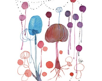 Multicolor Mushroom Watercolor Painting Print Poster Illustration, Fall Plant Art, Kitchen Art, Mushroom Art, Vegetal Decor, Vegetal art