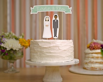RESERVED - Wedding Cake Topper Set REPRINT