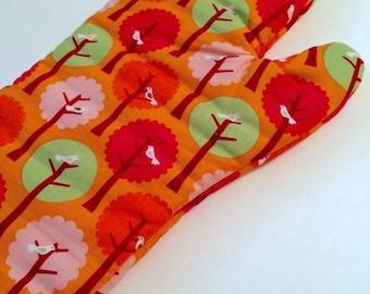 Orange Birds in Trees Oven Mitt