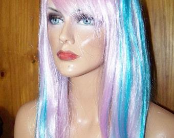 Long Blue Wig, Cosplay Wig, Heat Resistant Wig, Pink Wig, Blue Wig, Long Wig, Straight Wig