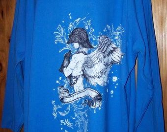 Women's plus size 5X t-shirt, Blue, Gothic, Angel Girl Graphic Tee, Tshirt, Plus Size Clothing for 5X, Women's 5X, Plus Size Clothing, 5X