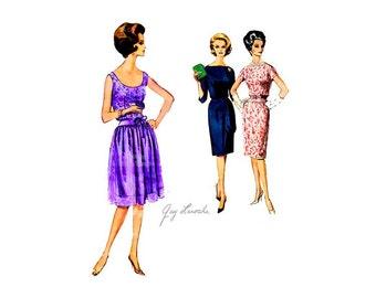 60s Guy Laroche Dress Pattern Vintage Vogue Paris Original 1058, One Piece, Slim or Gathered Skirt, Blouson Bodice, Couture Party Dress