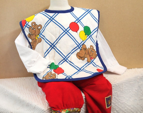 XL Toddler Bib Best Design Quilted Full Coverage Bib Teddy Bear with Balloons 1980s Fabric Retro Baby Boy Girl Unisex Gift Baby Shower Gift