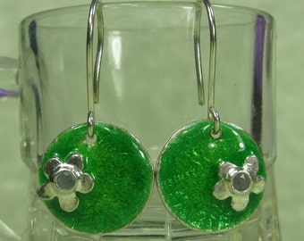 Blue sapphire flower enameled fine silver green leaf disk earrings PMC DTPD