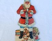 vintage Christmas card, Santa stand up card, display card, 1979 Hong Kong, vintage Christmas