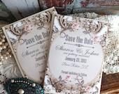 Romantic Elegant Vintage Save the Date Cards Handmade by avintageobsession on etsy