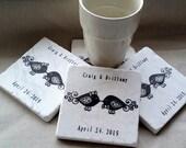 Personalized Flourish Love Bird Coasters - Wedding & Anniversary Gift -  Set of 4