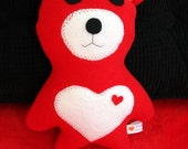 Valentine Red and White Bear with Heart - Bear - Stuffie - Stuffed Animal - Plushie
