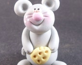Mouse with Cheese, Rat, Rodent, Animal, Polymer Clay, Critter, Collectable Figure by The Critter Company