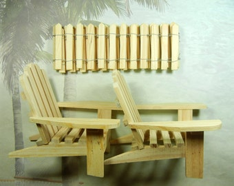 DIY Cake Topper Kit -  Beach Chair Wedding Kit  - Adirondack Chairs and Fence - For Cakes and Centerpieces