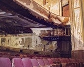 Urban Decay Photography, Abandoned Theater Photograph, Front Row Seats, Dramatic Photography, Living Room Art, Dark Moody Rustic Wall Art