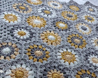 Crochet Baby Blanket - Heirloom Baby Blanket - Granny Baby Blanket - Granny Square - Crochet Blanket - Yellow Gray Nursery