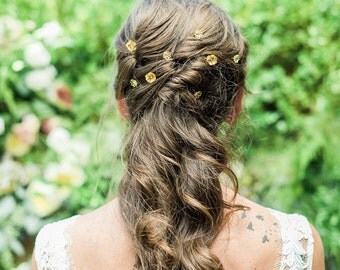 Charlotte Gold Flower Wedding Hair Pins