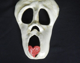 Skull and Heart Stoneware Wall Mask-Ceramic Skull Mask