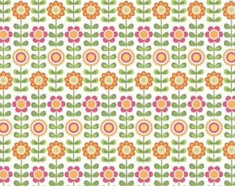 Riley Blake Designs Summer Song White Summer Flowers fabric by My Mind's Eye, by the yard, quilt fabric, apparel fabric, floral