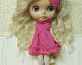 Short Hot Pink Ruffle dress with matching Hair bow