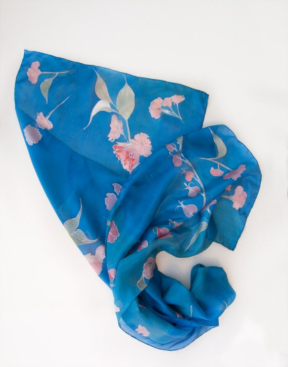 Cherry blossom silk scarf/ Hand painted scarf. Sakura shawl scarf/ Bridal shawl, Cobalt blue scarf shawl. Bridesmaids gift/ Floral scarves