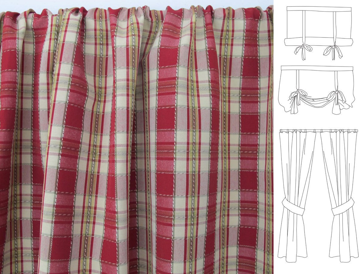 red gold plaid valances cafes and drapes made to by