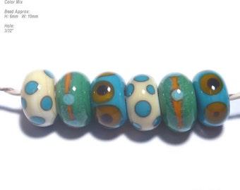 TUMBLERS 13  Lampwork Bead Set Handmade - Ivory Turquoise Green Squash  - Organic Design 6 Discs